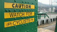 Caution watch for cyclists. Stock Footage