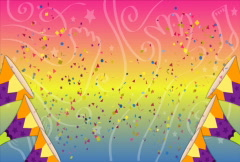 Confetti Trumpet (Colorful Background) NTSC Stock Footage