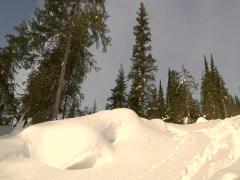 Snowboarder down powder Stock Footage