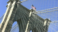Stock Video Footage of Flags, Brooklyn Bridge, New York