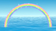 Stock Video Footage of Rainbow Arch Over Water