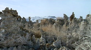Mono Lake Tufas and Snow-Capped Sierra Nevada Stock Footage