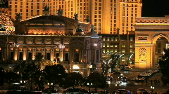 Las Vegas night Paris Hotel fast P HD 6847 Stock Footage