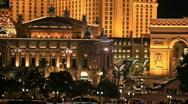 Las Vegas strip night Paris P HD 6847 Stock Footage