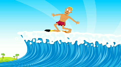 Surfing with Turtle and Shark HD Stock Footage