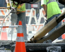 Construction Workers with Jackhammers Stock Footage