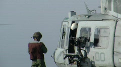 Crew Chief and Helicopter (HD) c Stock Footage