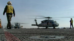 Helicopters ready for takeoff (HD) c Stock Footage