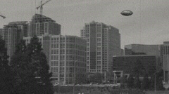 Flying Object Over City 1a Stock Footage