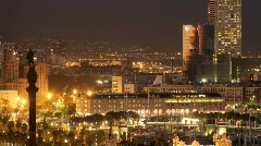 Barcelona city urban night architecture transport skyline spain Stock Footage