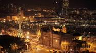 Barcelona city urban night architecture transport skyline spain coast Stock Footage