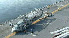 Seahawk Pulled on Flight Deck (HD) c Stock Footage