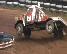 Stock Video Footage of autocross truck on 2 wheels