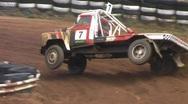 Autocross truck on 2 wheels Stock Footage