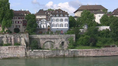 Basel river side houses Stock Footage