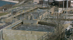 Sewage treatment plant  cleaning the city water - stock footage