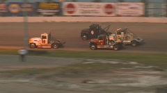 Motorsports, Big rig race wreck Stock Footage