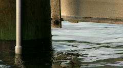 Water moving on piling Stock Footage