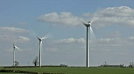 Stock Video Footage of Wind turbines spinning to generate electricity. Time lapse.
