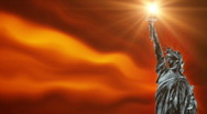 Statue of Liberty with fire background waving, loop Stock Footage