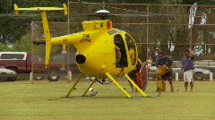 Aircraft, surf rescue Hughes 500 helicopter, idle Stock Footage