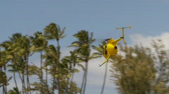 Aircraft, surf rescue Hughes 500 helicopter flys off Stock Footage