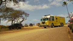 Fire truck drive by, Maui County FD Stock Footage