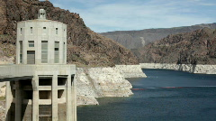 Hoover Dam Tower in Lake Mead Stock Footage