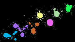 Colorful blots, blobs and stains over black Stock Footage