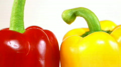 3 Peppers, green, red, yellow, dolly shot Stock Footage