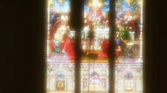 Stock Video Footage of Stained Glass Window and Cross