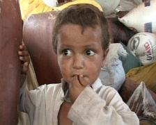 Cute Refugee Boy in Swat, Pakistan Stock Footage