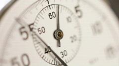 Stopwatch clock face close up. Selective focus. - stock footage