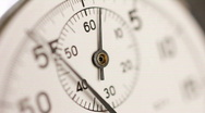 Stock Video Footage of Stopwatch clock face close up. Selective focus.