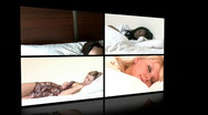 Stock Video Footage of Animation of young women sleeping lying on bed