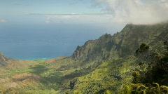 Kalalau Valley with fog, Kauai, Hawaii Stock Footage