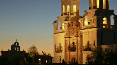 San Xavier Mission - 4 - slow pan tilt up left to right zoomed out Stock Footage