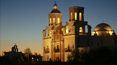 San Xavier Mission - 6 - full shot static time lapse dusk to dark Stock Footage