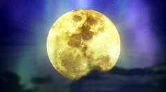 Stock Video Footage of loopable background full moon in space with stars and nebula, dark clouds