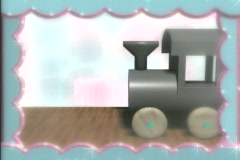 0421 Baby Pictures toy train  - stock footage