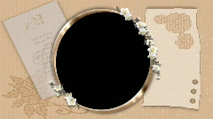 6021L Gold Oval Frame White Flowers Scrapbook Template 6021L Stock Footage