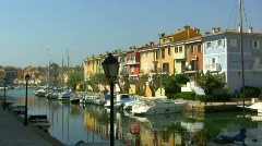 Port in a village Stock Footage