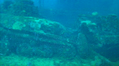 Sunken Tank in Truk Lagoon Stock Footage