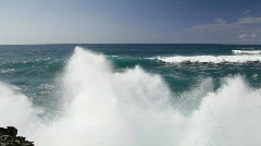 Awesome crashing waves on Kauai, Hawaii Stock Footage