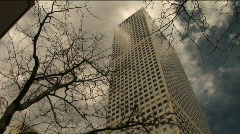 (1170) Winter City Buildings Skyscrapers Trees Storm SKy Tower View Stock Footage