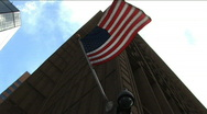 (1171) American USA FLag Blowing Wind Urban City Buidlings Skyscrapers Stock Footage