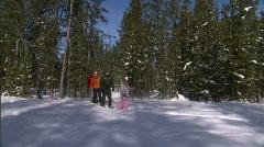 Winter Snowshoe Family Yellowstone 11 59.94 Stock Footage