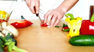 Slicing red pepper Stock Footage