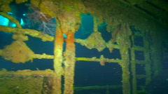 Sunken Ship in Truk Lagoon Stock Footage