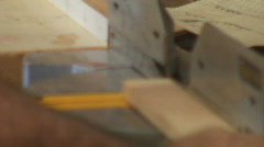 Cabinetry shop - 10 - cutting wood pieces with a chop saw Stock Footage